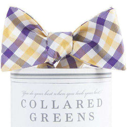 Bow Ties - Collegiate Quad Bow Tie In Purple And Gold By Collared Greens