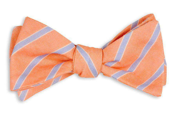 Coral and Blue Linen Stripe Bow Tie by High Cotton