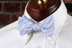 Bow Ties - Corolla Stripe Bow Tie In Purple By High Cotton