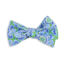 Bow Ties - Derby Linen Paisley Bow Tie In Green By High Cotton