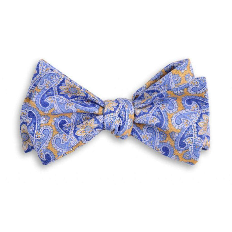 Bow Ties - Derby Linen Paisley Bow Tie In Yellow By High Cotton