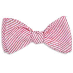 Bow Ties - Firecracker Linen Stripe Bow Tie In Red By High Cotton - FINAL SALE