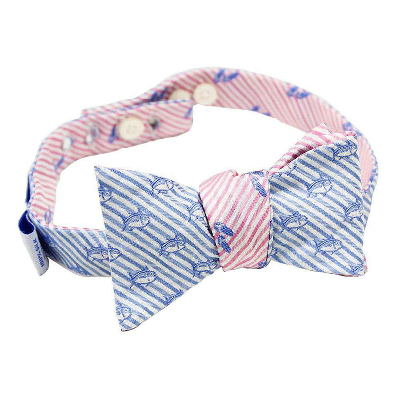 Flip Flop Seersucker Bow Tie in Pink and Ocean Channel by Southern Tide