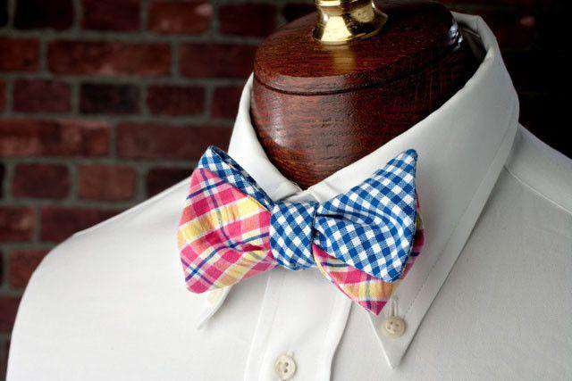Bow Ties - Flying Scot Reversible Bow Tie In Blue And Yellow/Pink Madras By High Cotton