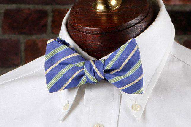 Bow Ties - Green Sunfish Bow Tie In Blue And Green Stripe By High Cotton