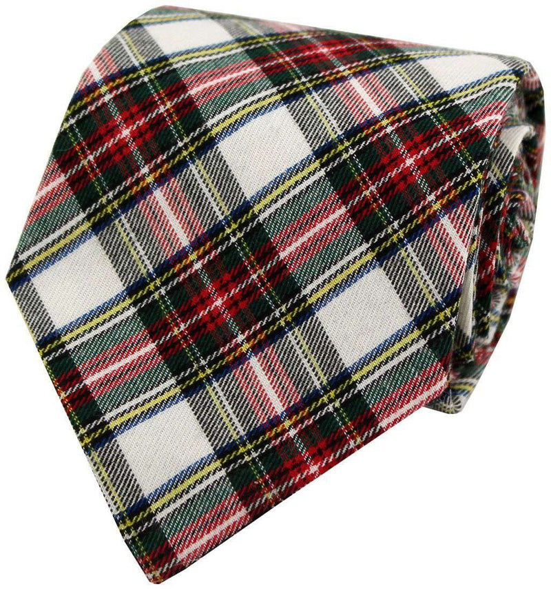 Bow Ties - Holiday Plaid Tie In White By Just Madras