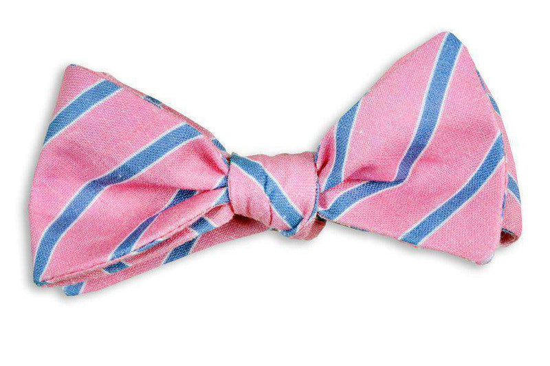 Bow Ties - Hot Pink And Navy Linen Stripe Bow Tie By High Cotton