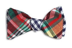 Bow Ties - Jackson Reversible Bow Tie In Madras And Navy Gingham By High Cotton