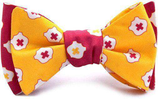 Bow Ties - Kappa Alpha Order Reversible Bow Tie In Gold And Crimson By Dogwood Black