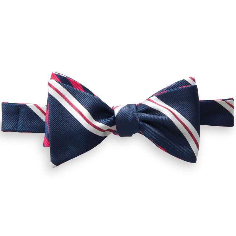 Lateral Stripe and Regimental Stripe Reversible Bow Tie in Navy and Red by Southern Tide