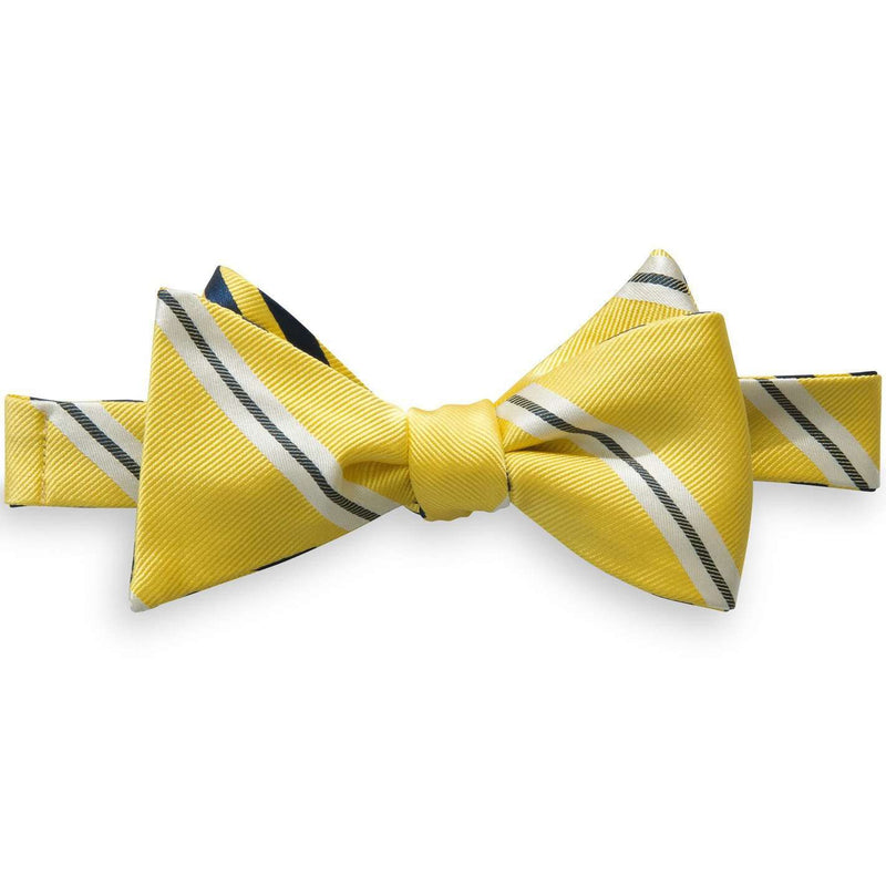 Lateral Stripe and Regimental Stripe Reversible Bow Tie in Yellow and Navy by Southern Tide