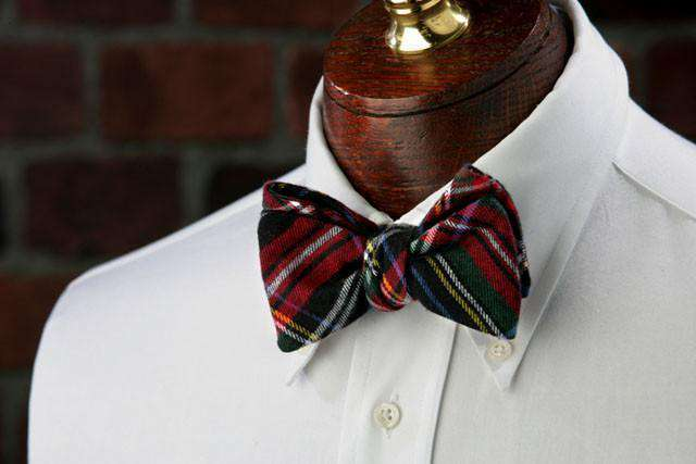 Bow Ties - Lennox Flannel Bow Tie In Red And Green By High Cotton