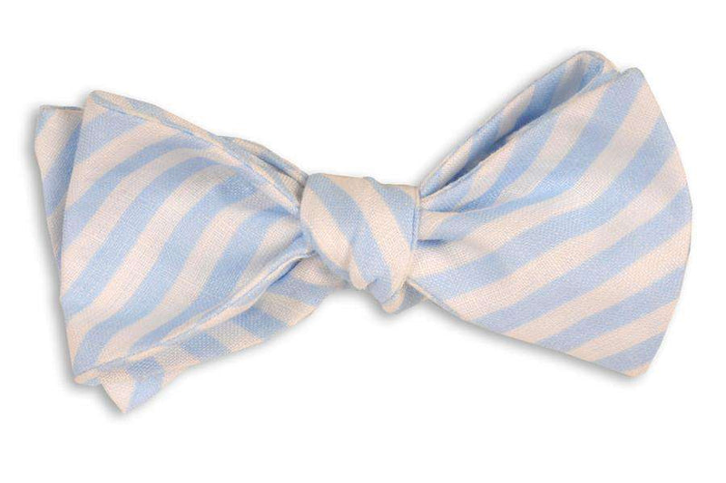 Bow Ties - Light Blue Linen Stripe Bow Tie By High Cotton