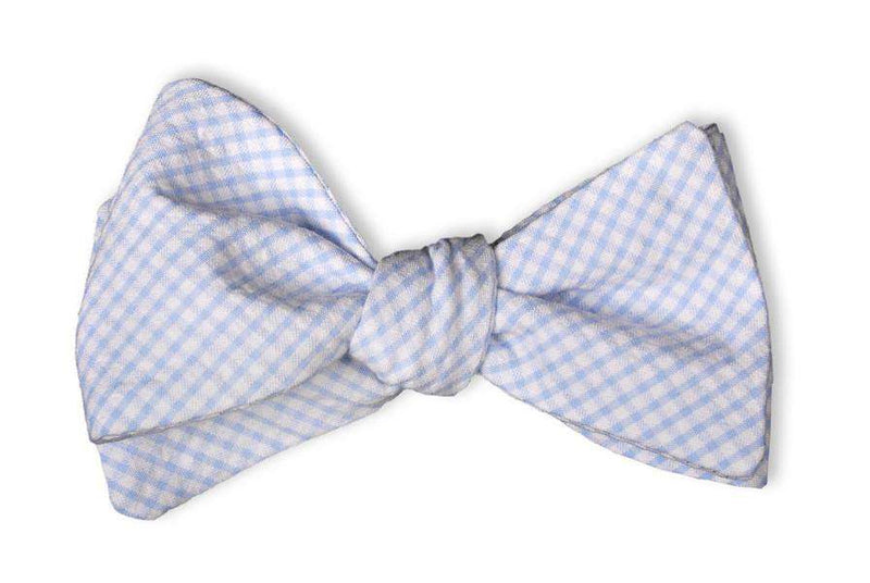 Bow Ties - Light Blue Seersucker Gingham Bow Tie By High Cotton