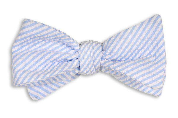 Bow Ties - Light Blue Seersucker Stripe Bow Tie By High Cotton