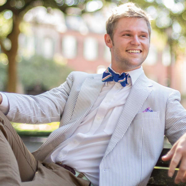 Bow Ties - Low Country Stripe Bow Tie In Royal Blue By High Cotton