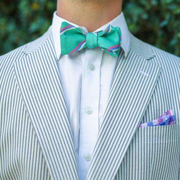Bow Ties - Low Country Stripe Bow Tie In Seafoam By High Cotton