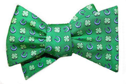 Bow Ties - Lucky Horseshoe Bow Tie In Green By Bird Dog Bay
