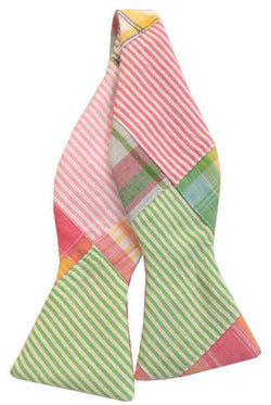 Bow Ties - Madras Patchwork Plaid Bow Tie In Sea Island By Just Madras
