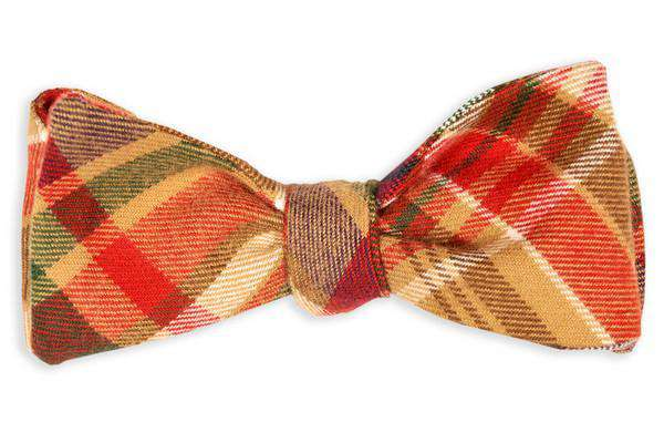 Bow Ties - Mattox Flannel Plaid Bow Tie In Brown And Red By High Cotton