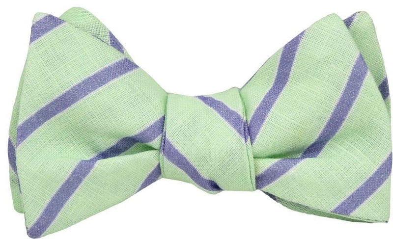 Bow Ties - Mint And Periwinkle Linen Stripe Bow Tie By High Cotton