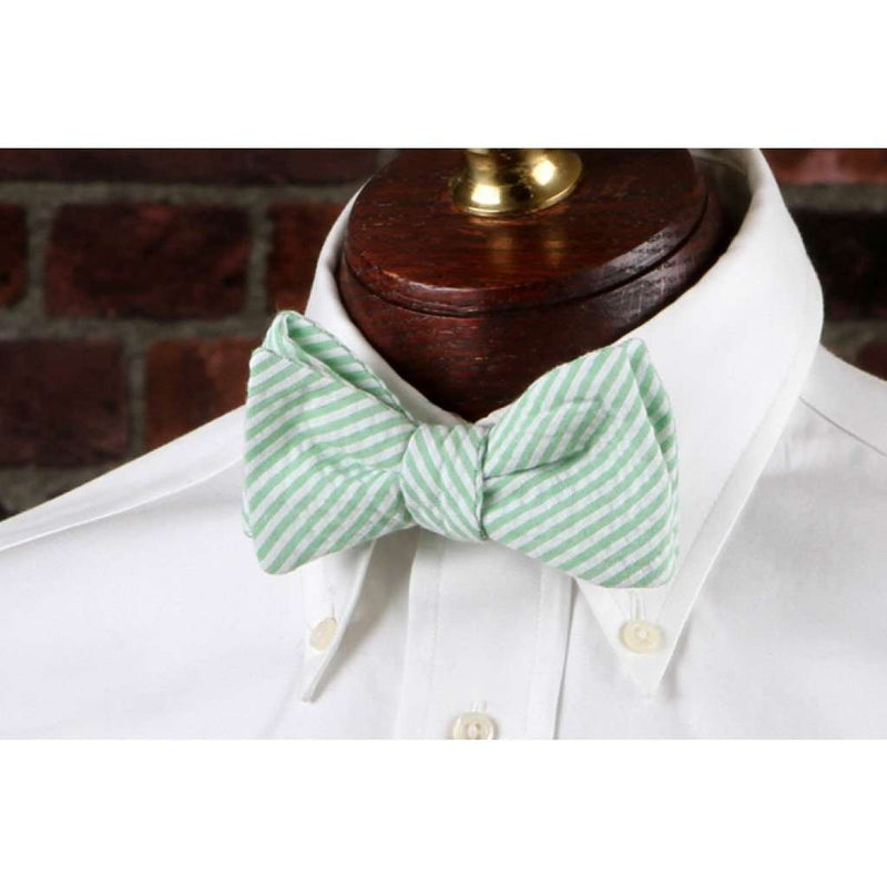 Bow Ties - Mint Green Seersucker Stripe Bow Tie By High Cotton