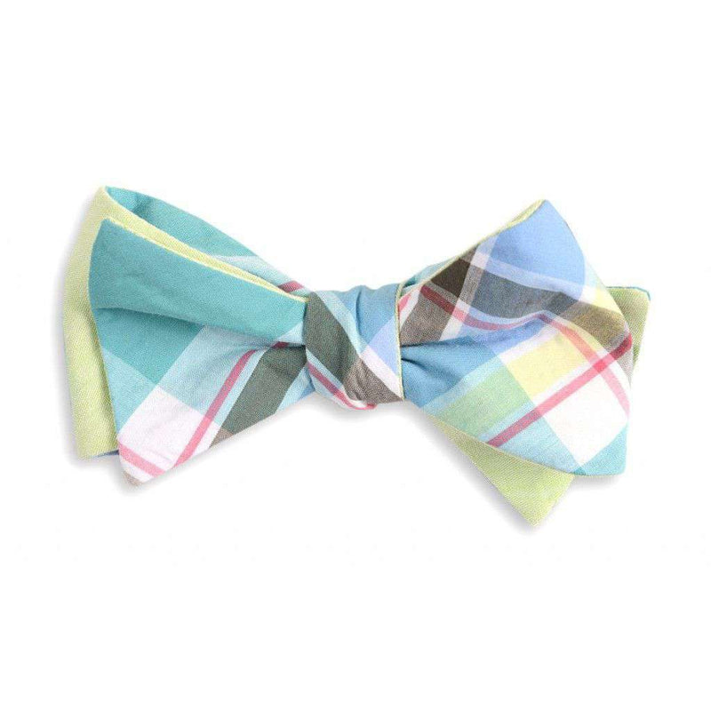 Mint Julep Madras Plaid Reversible Bow Tie by High Cotton