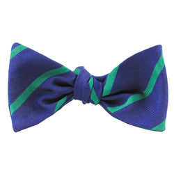 Bow Ties - Mogador Bow Tie In Navy With Green Stripe By Res Ipsa