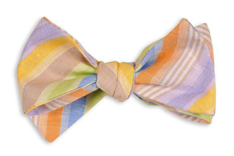 Bow Ties - Multicolor Linen Stripe Bow Tie By High Cotton