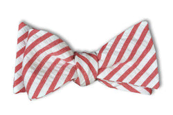 Bow Ties - Nantucket Red Seersucker Stripe Bow Tie By High Cotton