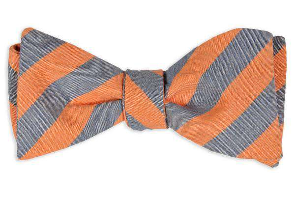 Bow Ties - Orange And Blue Oxford Stripe Bow Tie By High Cotton