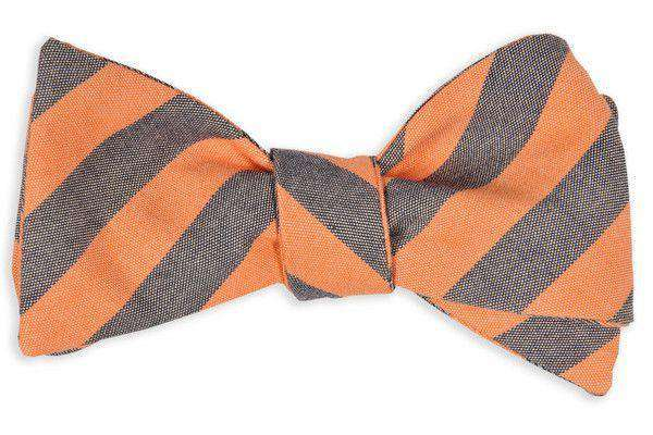 Bow Ties - Orange And Navy Oxford Stripe Bow Tie By High Cotton