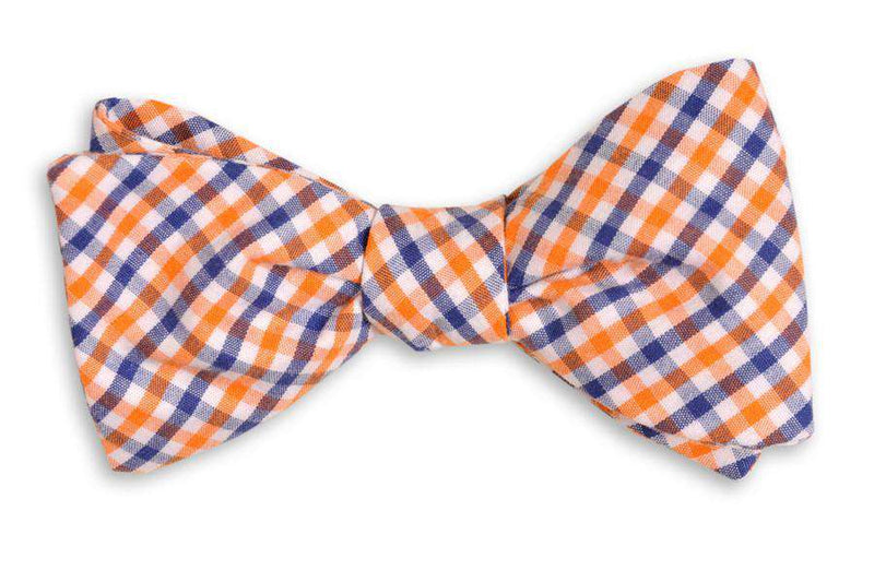 Bow Ties - Orange And Navy Tattersall Bow Tie By High Cotton