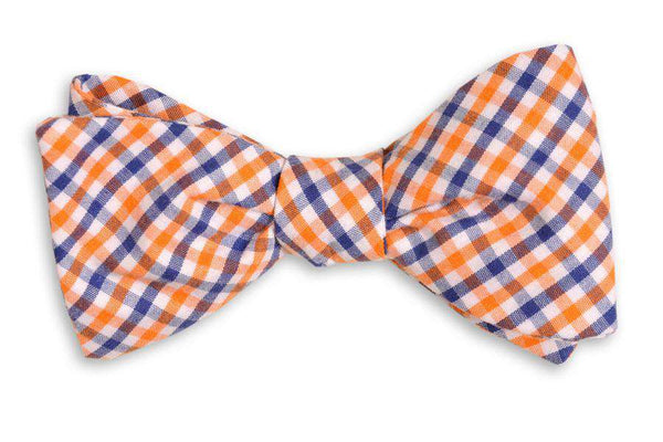 Orange and Navy Tattersall Bow Tie by High Cotton