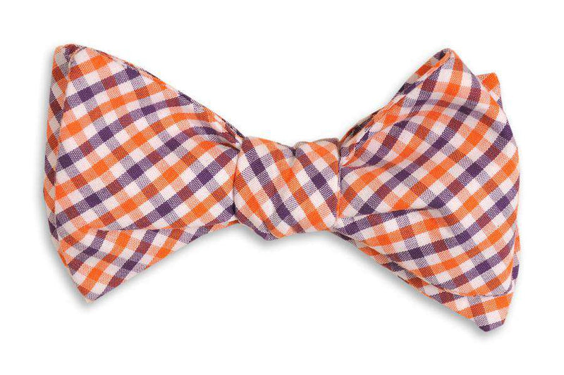 Orange and Purple Tattersall Bow Tie by High Cotton