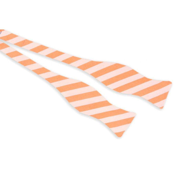 Orange and White Oxford Stripe Bow Tie by High Cotton