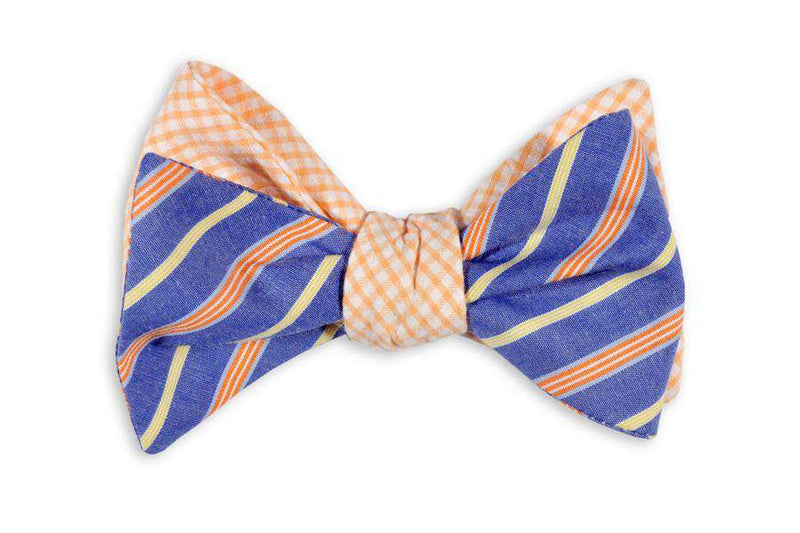 Bow Ties - Orange Sunfish Reversible Bow Tie In Orange Seersucker And Blue/Purple Stripe By High Cotton