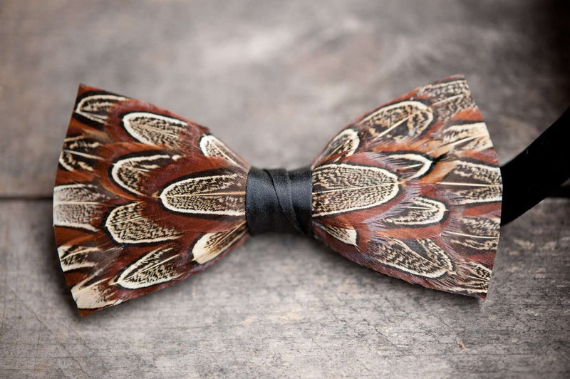 Original Feather Bow Tie in Phunky Pheasant by Brackish Bow Ties