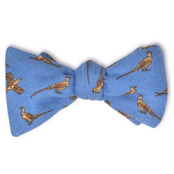 Pheasant Bow Tie in Blue by High Cotton