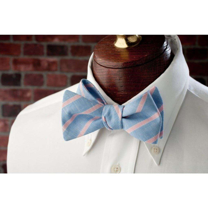 Pink and Blue Linen Stripe Bow Tie by High Cotton