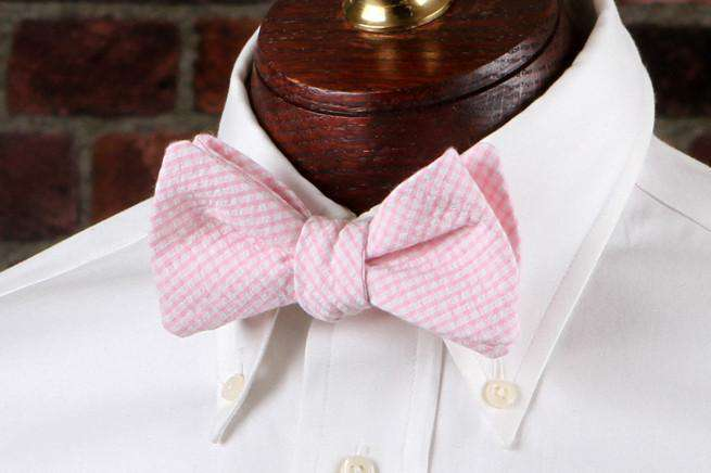 Bow Ties - Pink Seersucker Gingham Bow Tie By High Cotton