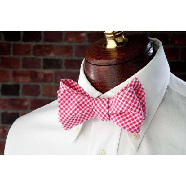 Bow Ties - Raspberry Seersucker Gingham Bow Tie In Red By High Cotton