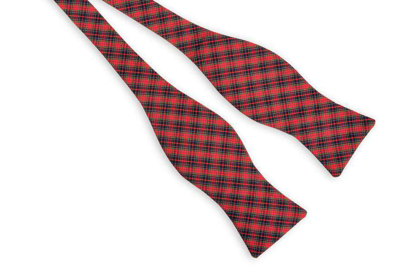 Red and Navy Tartan Bow Tie by High Cotton