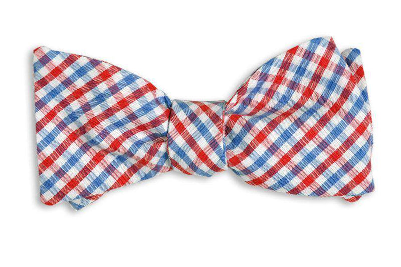 Bow Ties - Red And Old Blue Tattersall Bow Tie By High Cotton