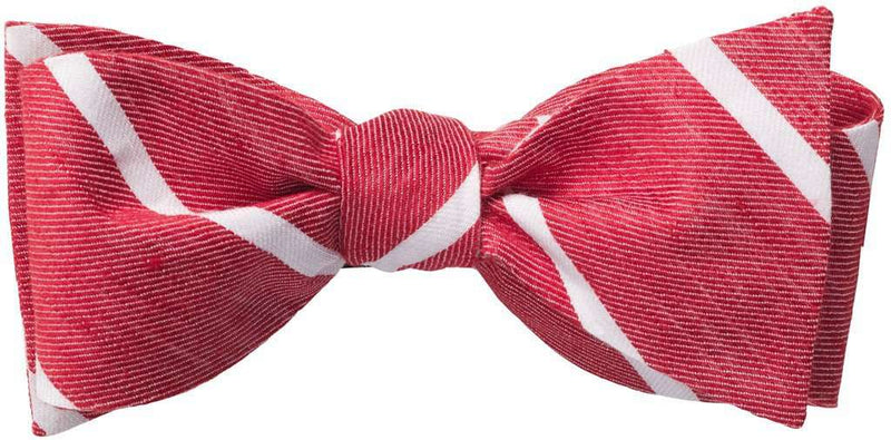 Bow Ties - Red Linen Stripe Bow Tie By Southern Proper