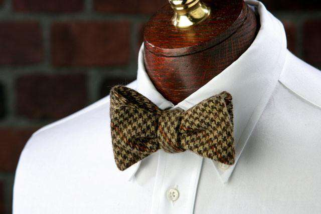 Bow Ties - Russell Woolie Bow Tie In Brown And Green By High Cotton