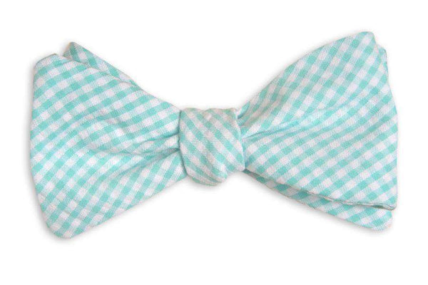 Bow Ties - Seafoam Green/Blue Seersucker Gingham Bow Tie By High Cotton