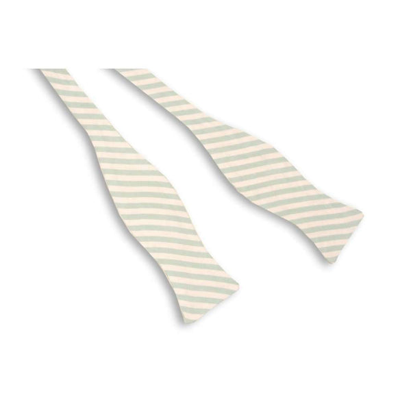 Bow Ties - Seafoam Green Linen Stripe Bow Tie By High Cotton