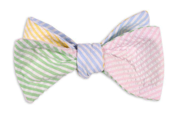 Bow Ties - Seersucker Four Way Bow Tie In Pink, Green, Yellow And Light Blue By High Cotton