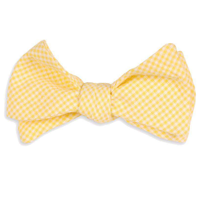Seersucker Gingham Bow Tie in Yellow by High Cotton